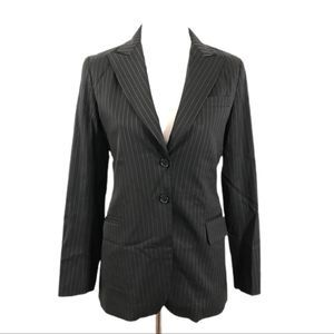 Theory Womans Small Pin Striped Two Button Blazer